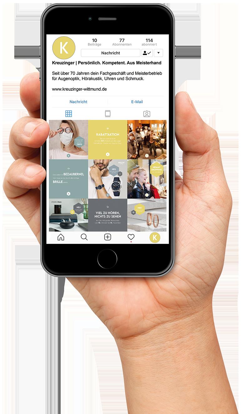 Instagram von Kreuzinger auf einem Smartphone