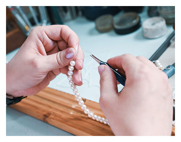 Perlen aufziehen